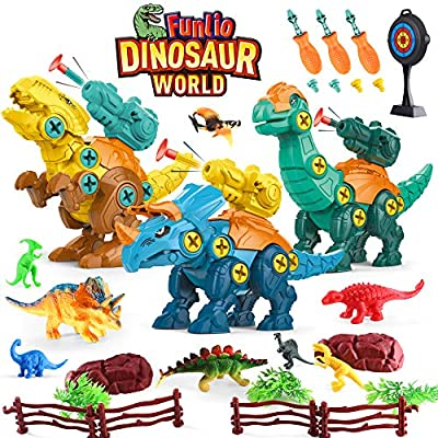 Funlio Take Apart Dinosaur Toys with Launcher for Kids 3 Years&Up, Dino World Set with T-rex/Trex Figures for Boy/Girl/Child 3,4,5,6,7,8 Years Old, STEM/Construction Tool Toy with Drill, Birthday Gift from Eletree