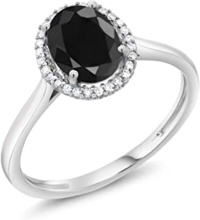 10K White Gold Black Sapphire and Diamond Halo Engagement Ring 1.66 Ctw Oval (Available 5,6,7,8,9)