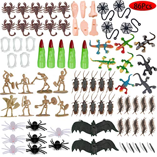 Kissdream Halloween Toys Over 86PCS including Prank Toys and Realisticinsect fit Halloweenpranks