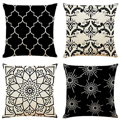 Pageantry Pillow Cover for Decor 18 x 18 Inches Cushion Case for Sofa Couch Set of 4 Throw Pillow Covers armhouse Decorative Pillowcase Cotton Linen Cushion Case