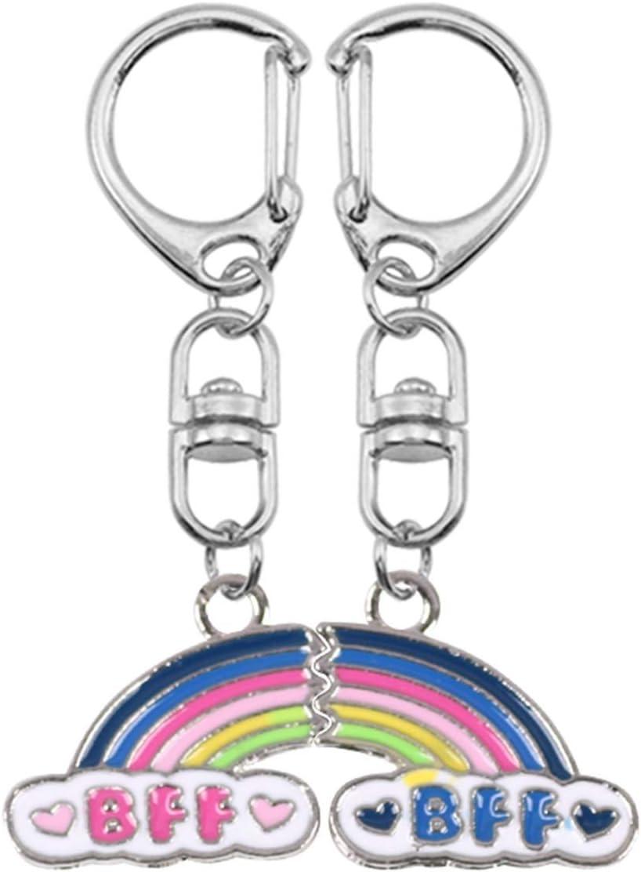 Keychain Best Friend 2 Piece Max 50% OFF Alloy Rainbow K Cheap bargain Set Female
