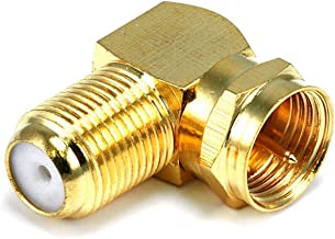 Monoprice 106775 F Type Right Angle Female to Male Adapter, Gold Plated