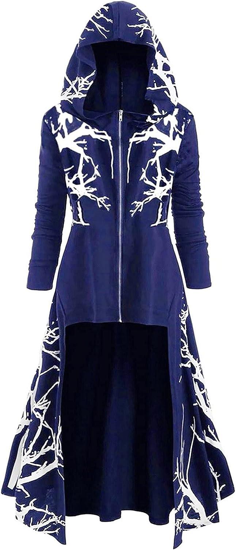 Cardigan Sweaters Women Loose Halloween Tops Sweater Large Size Coat Retro Dress Hooded Elasticity Blue