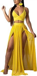 Women Sexy 2 Piece Outfits Dress Chiffon Strap Deep V Neck Bra Crop Top High Split Maxi Dresses Skirt Set