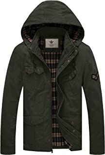 WenVen Men's Fall Casual Hooded Cotton Military Jackets