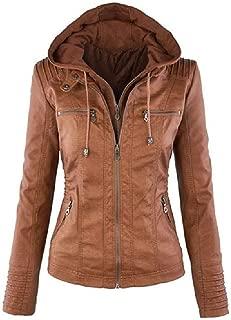 neveraway Women's Faux Leather Jackets Zip Up Motorcycle PU Biker Outwear Coat