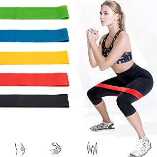 Acici Set of 5 Exercise Bands for Legs and Butt, Resistance Loop Exercise Bands with Carry Bag YR31