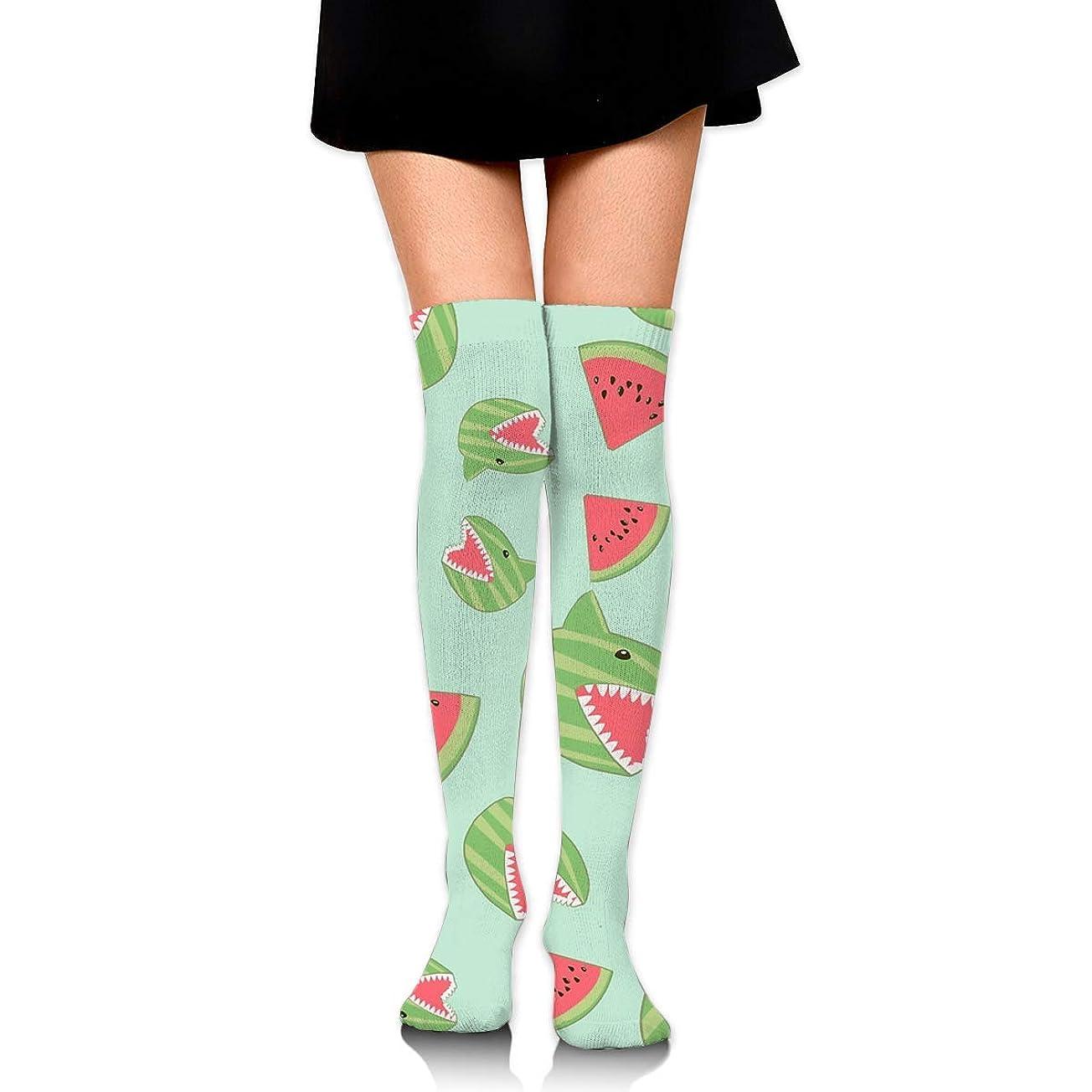 弓かんたんシチリアMKLOS 通気性 圧縮ソックス Breathable Thigh High Socks Over Exotic Psychedelic Print Compression High Tube Thigh Boot Stockings Knee High Funny Watermelon Shark Mint Green Stockings Women Girl