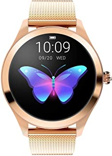 Smart Watch For Women KW10 Waterproof Stainless Steel Strap with Blood Pressure Heart Rate Sleeping Monitor Message Remind...