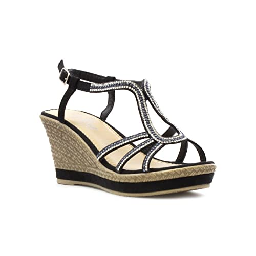 cad5d6b244 Lilley Black Diamante Wedge Sandal in Black