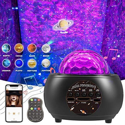 Amouhom LED Sternenhimmel Projektor, Sternenlicht Projektor Kinder Nachtlicht Projektorlicht mit Fernbedienung/Bluetooth Lautsprecher/Timer Galaxy Lichtprojektor für Schalfzimmer Party Weihnachten…