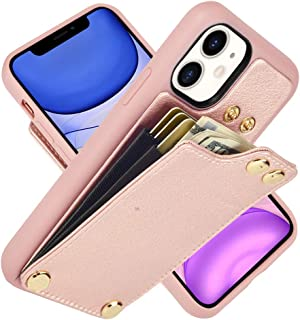"""LAMEEKU Wallet Case for Apple iPhone 11 6.1 Inch, Protective Leather Cases with Credit Card Holder Slot Case Money Pocket, Shockproof Phone Cover Compatible with iPhone 11 6.1"""" (2019) Rose Gold"""