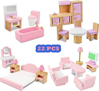 NextX Wooden Dollhouse Furniture Set, Miniature Wooden Toys for Kids, Doll House Accessories Educational Learning Toys for Boys and Girls