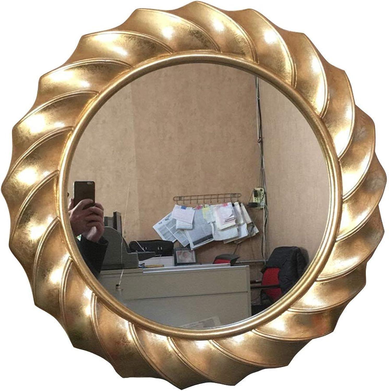 Round Mirror Retro Wall Hanging Vanity Mirror bathroom mirror Porch with Border Mirror Diameter 64cm-3 colors (color   gold)