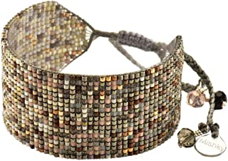 Wide Ombre Beaded Cuff Style Friendship Bracelet with Adjustable Macrame Clasp