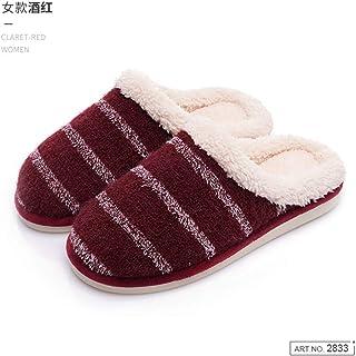 Zapatillas De Casa Para Mujer,Invierno Cálido Silencio Antideslizante Zapatillas De Felpa Vintage Raya Roja Zapatillas De Algodón Pareja Para Interiores Cómodos Home Zapatos De Fondo Suave Transpir