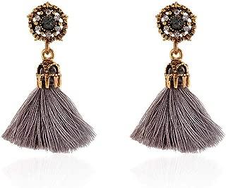 Bravetoshop Crystal Tassel Hoop Earrings Bohemia Fan Shape Drop Earrings Dangle Hook Eardrop for Women Girls Jewelry Party Dress Accessory