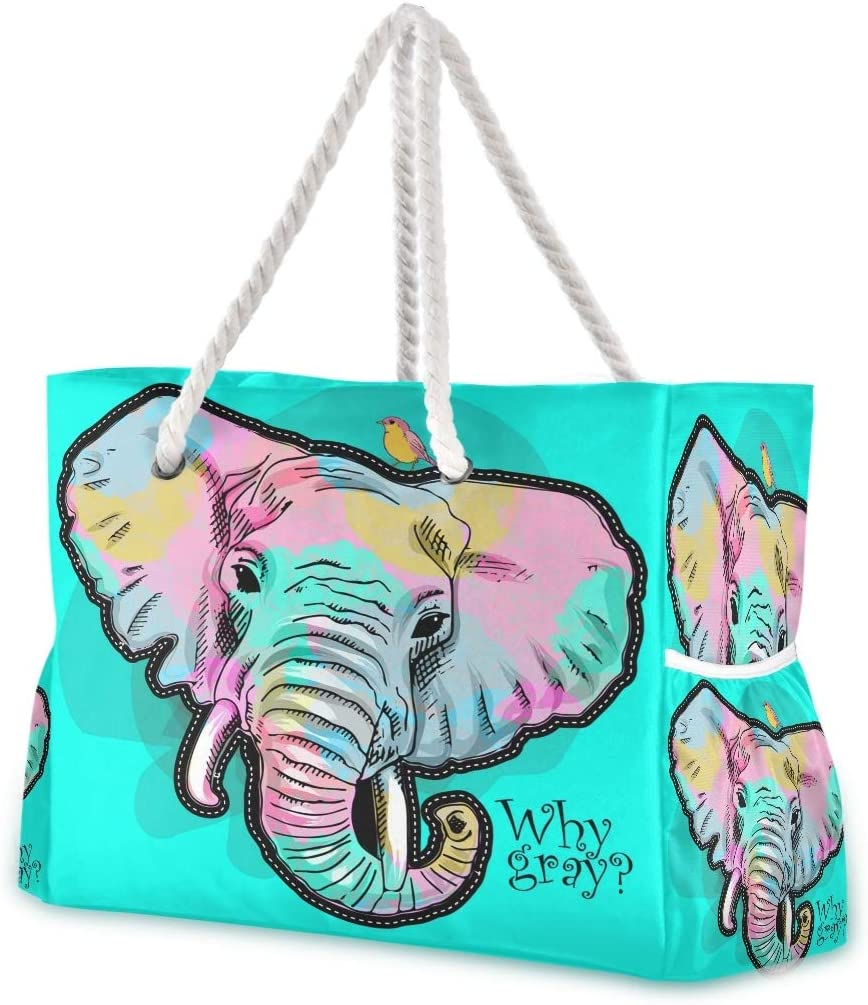 SUABO Beach Bag Cheap mail order sales XXL Popular shop is the lowest price challenge Clolorful Shoulder Elephant Cot Tote