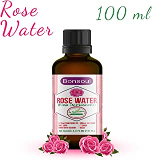 BONSOUL 100% Pure & Natural Rose Water, Gulab Jal, Steam Distilled from Rosa Damascena Rose Flower, Organic, Chemical Free...