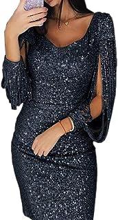Aiweijia Mujeres sexy Solid Lentejuelas Mini vestido Costura con cuello en V Delgado verano Ajuste borla de manga larga cintura alta Club brillante fiesta bar moda vestido de noche primavera