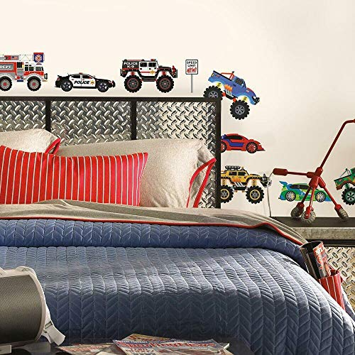 RoomMates SPD0004SCS New Speed Limit  Trucks Peel and Stick Wall Decals Multicolor