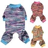Poseca Pijamas de Mono para Perros pequeños Ropa de Cachorro de Rayas Coloridas Ropa de algodón para Gatos Pijamas Ropa para Mascotas Pijamas de Mono para Perros pequeños Cachorros de Gatos