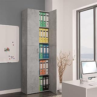LIUBIAONET Classeur à tiroirs Armoire de Bureau Gris Cement 60x32x190 cm Aggloméré