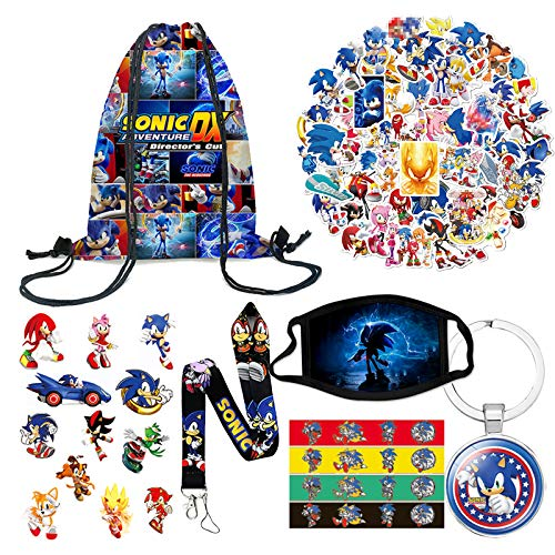 Sonic Backpack Set for Fans 1 Pack Drawstring Bag 1 Sonic Face Mask 4 Silicone Bracelet 50 Stickers 1 Lanyard 1 Keychain 1 Tattoo Sticker