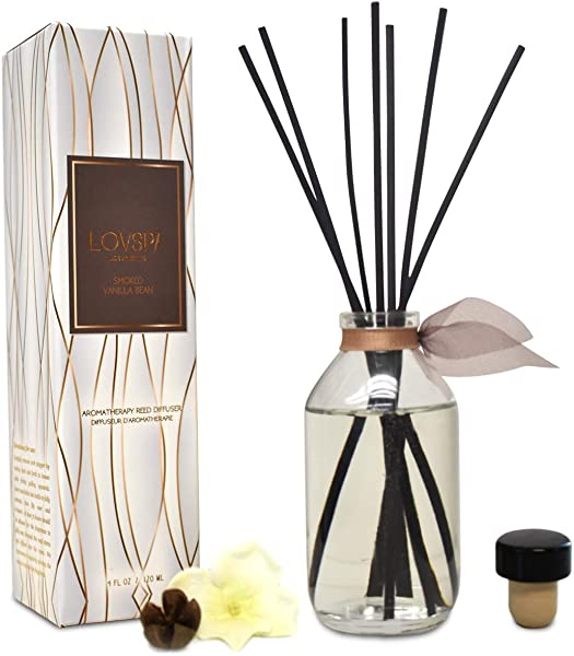LOVSPA Smoked Vanilla Bean Reed Diffuser Set Scented Stick Room Freshener Warm Sultry Blend Of Smoked Tahitian Vanilla Sandalwood Leather And Southern Bourbon Great Gift Idea