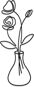 Hotop Metal Flower Wire Wall Decor Minimalism Metal Flower Wall Art Black Metal Art Rose Flower Vase Hanging Decor Wall Signs for Home Living Room Bedroom Bathroom Indoor Outdoor Wall Decorations