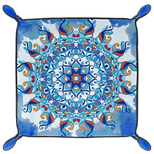 laire Daniel Bandeja plegable de piel sintética para guardar relojes, joyas, diseño de mandala, color azul