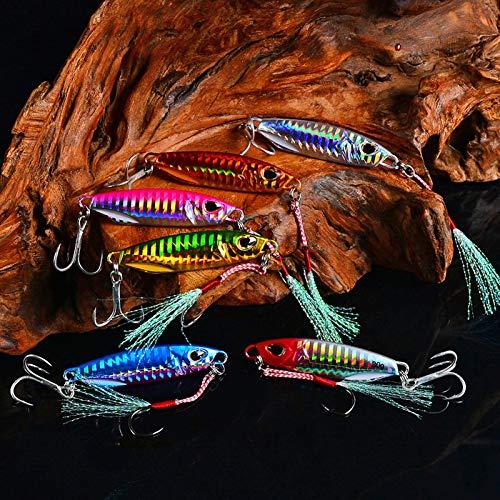 Paquete de 6 Luminoso Pesca Señuelo Cebo, Señuelos de Pesca Swimbait de Bajo Agua con Múltiples Articulaciones Cebo Artificial Swimbaits Kit de Pesca para Perca de Trucha(65 mm, 30 g)