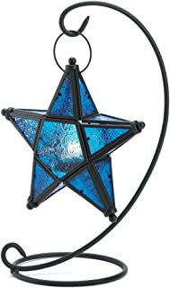 Gifts & Decor Blue Sapphire Star Tabletop Candleholder Lantern Decor