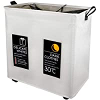 Y-home 2 Compartment Laundry Hamper with Wheels