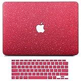 MacBook Air 13インチケース 2020 2019 2018年発売 A2337 M1 A2179 A1932 Retinaディスプレイ付き、B BELK マットグリッター キラキラ ガーリー PUレザー ハードシェル カバー キーボードカバー付き タッチID付き
