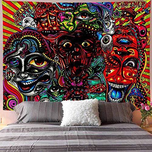 Tapiz de calavera colgante de pared boho floral hippie fondo de pared manta de tela mandala colorido tapiz psicodélico A2 130X150CM