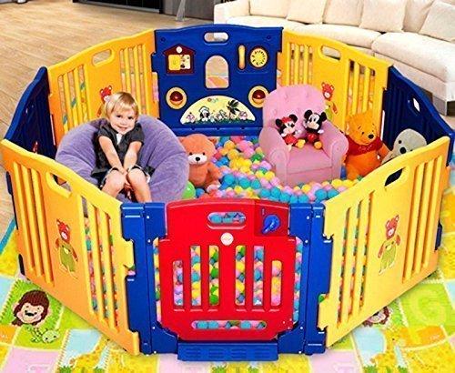 Star Ibaby Play Twin Parque de Bebe Gigante 8 Piezas + Colchoneta/Multiples Formas de Montaje