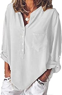 Loyomobak Women's T-Shirt Baggy Plus Size Long Sleeve Solid Roll-Up-Sleeve Buttons Shirt Blouse Top