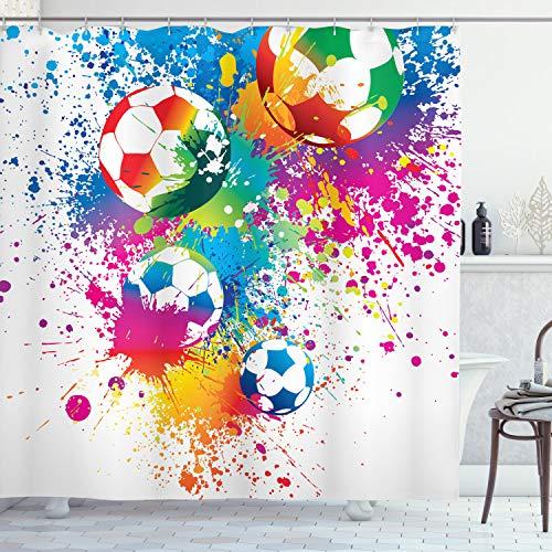 ABAKUHAUS Duschvorhang, Fußball Bälle Klares Farbiges Sport Thematisiert Design im Mehrfarbigen Digital Druck Design, Blickdicht aus Stoff inkl. 12 Ringe für Das Badezimmer Waschbar, 175 X 200 cm
