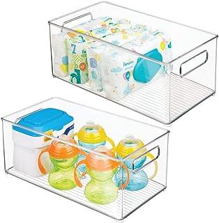 mDesign rangement chambre enfant (lot de 2) – panier de rangement avec poignées pratiques, sans couvercle – bac de rangeme...