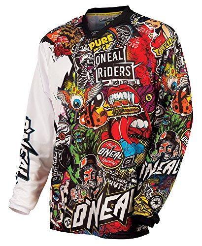 O'NEAL | Motocross Langarm-Shirt | MX Enduro Motorrad | Schnell trocknendes und leichtes Performance-Material, kragenloses Design | Mayhem Jersey Crank | Erwachsene | Schwarz Multi | Größe L