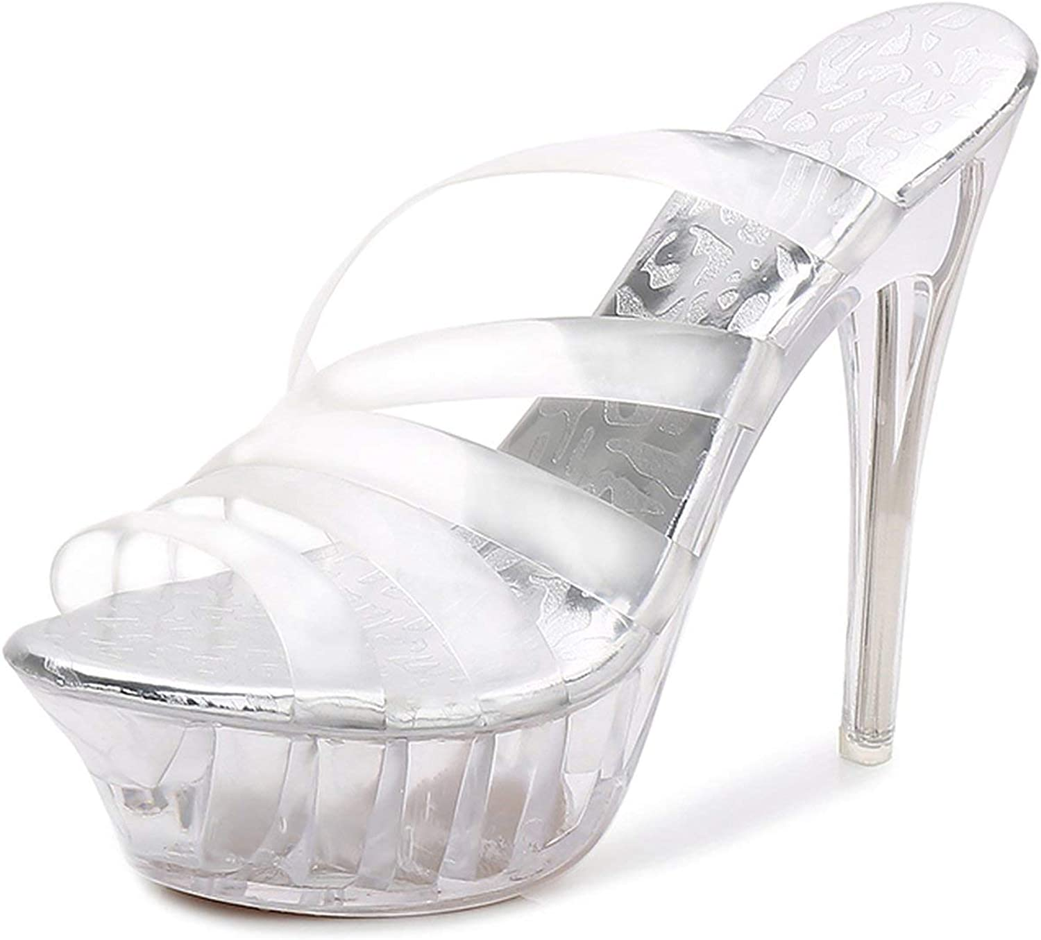 High Heels Womens Sandals Transparent Crystal Heel Model T Stage Sexy Lady Heeled shoes 35-43