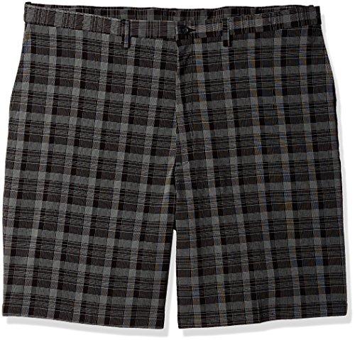 Haggar Men's Big and Tall B&t Cool 18 Pro Classic Fit Pinstripe Plaid Flat Front Short, Black, 50