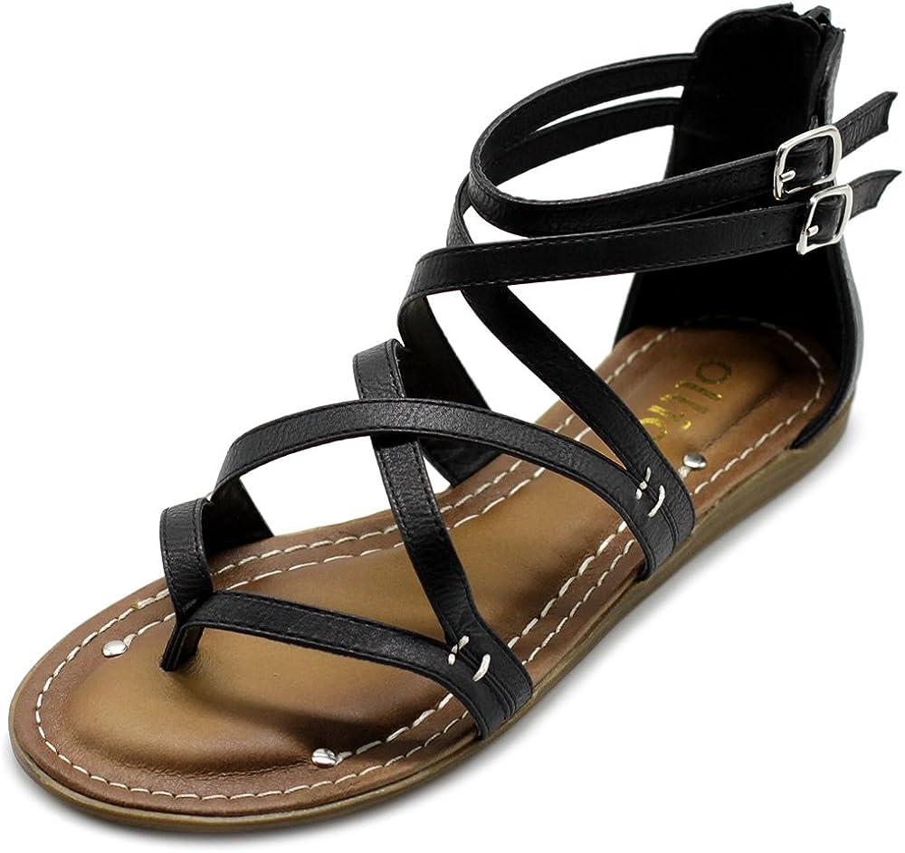 Ollio Women's Challenge the lowest price of Japan Denver Mall Shoe Gladiator Sandal Strap Flat Zori