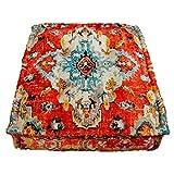 Mandala Life ART Funda de cojín de Piso Bohemian Rug - Redonda 60x20 cm - Puf de...