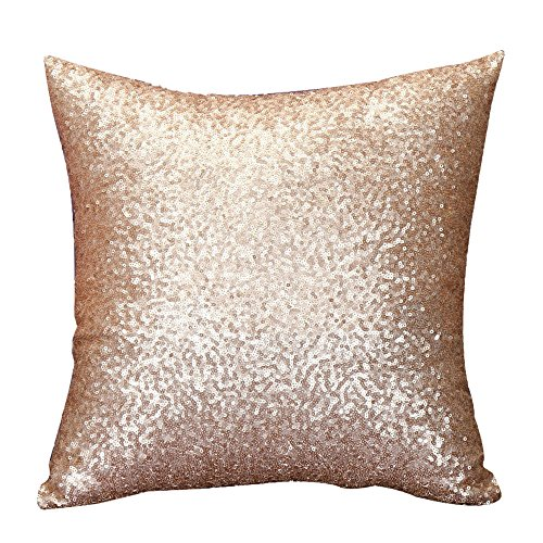 KariNao - Funda de cojín cuadrada, monocromo, con lentejuelas, para decorar el sofá, color dorado