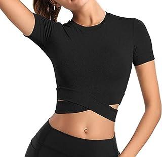 پیراهن آستین بلند و کوتاه ورزشی Tummy Cross پیراهن گردن زنانه Bontierie برای یوگا تناسب اندام