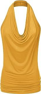 Doublju Womens Sleeveless Sexy Halter Drape Cowl Neck Top Plus Size