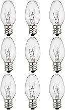 9-Pack,Salt Lamp Night Light Bulb, Crystal Clear Glass,C7/7 Watt/120 V/45 Lumen,E12 Candelabra Base Long Life Incandescent Bulbs
