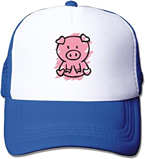 Men's Cartoon Pinky Pig Basketball Ball Pratical Mesh Sport Hat Black